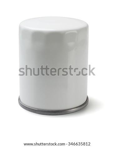 White Auto Oil Filter on White Background - stock photo