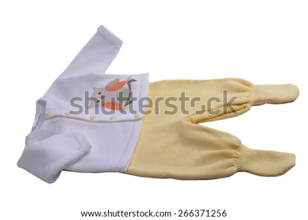 White baby blouse with owl and yellow trousers - stock photo