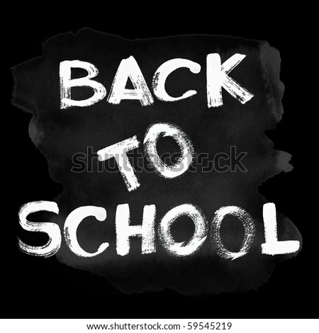 White Back to school text over black chalkboard - stock photo