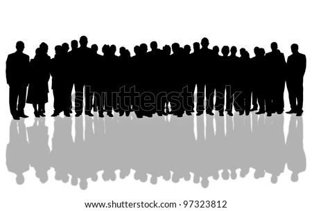 white background and business people silhouette
