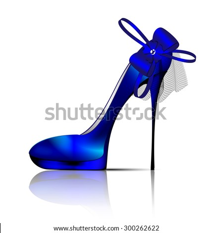 white background and the blue ladys shoe with veil - stock photo