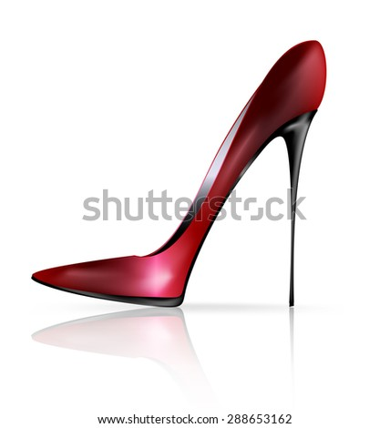 white background and the red black ladys shoe - stock photo
