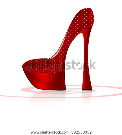 white background and the red ladys shoe - stock photo