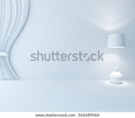 white background interior. 3d illustration - stock photo