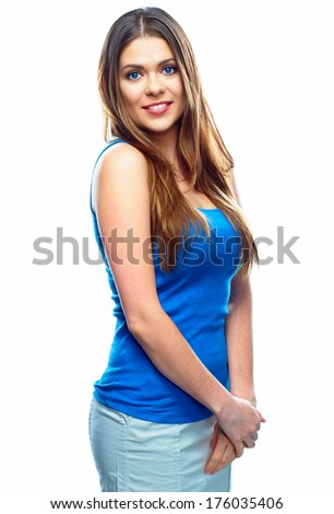 White background isolated smiling woman. Casual style female young model.