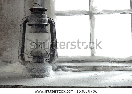 white background of window sill and snow  - stock photo