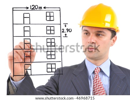 White background studio image of a architect drawing a building on glass - stock photo