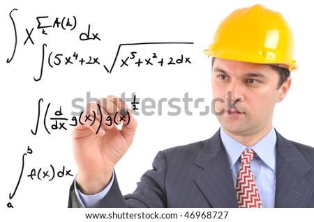 White background studio image of a architect writing formula on glass - stock photo