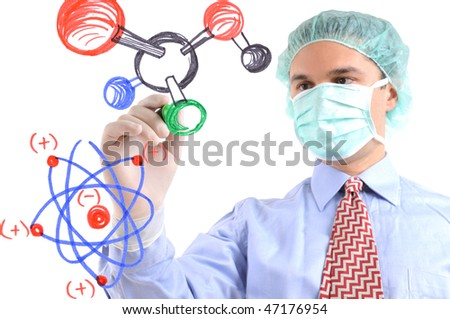 White background studio image of a  researcher drawing molecular structure on glass - stock photo