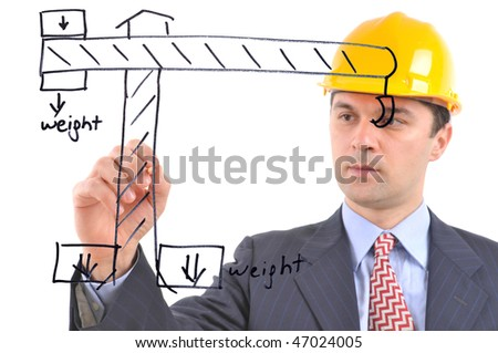 White background studio image of an architect drawing a crane on glass - stock photo