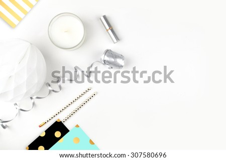 white background table, view table mockup, accessories modern,  - stock photo