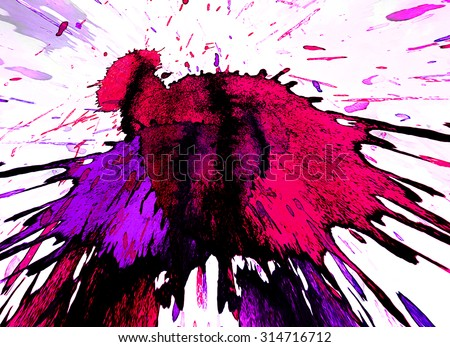 White background with a big bright color blot - stock photo