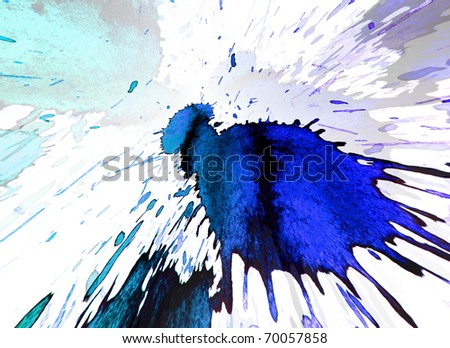 white background with a bright color blots - stock photo