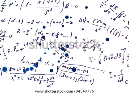 white background with different mathematical expressions - stock photo