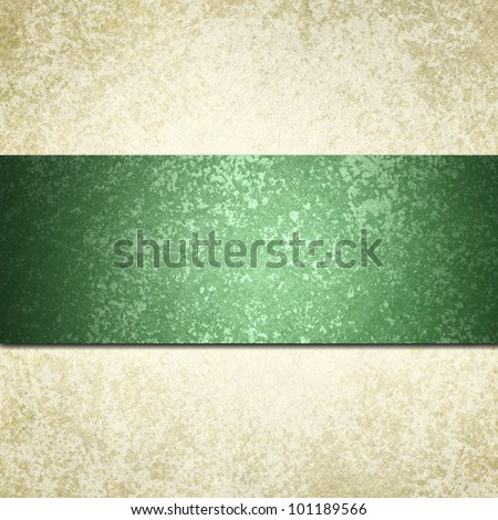 white background with green ribbon or stripe and vintage grunge background texture, white paper and green background for Christmas card invitation or elegant brochure template design of old paper look - stock photo