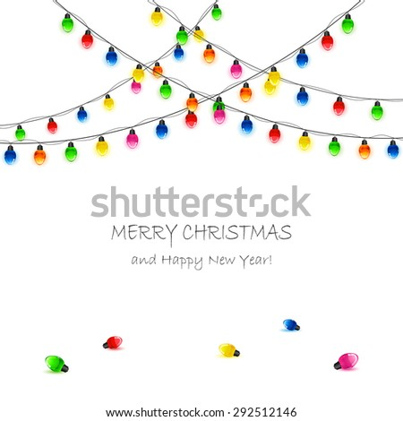 White background with multicolored Christmas lights, illustration. - stock photo