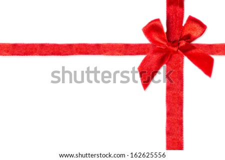 White background with red ribbon - stock photo