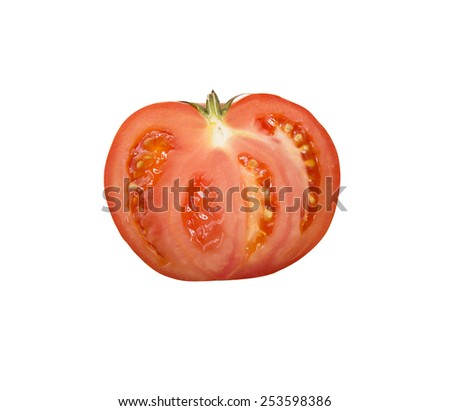 white background with sliced tomato