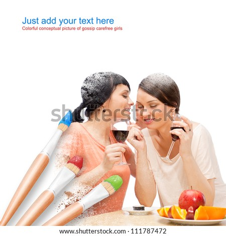 White background with three paintbrushes painting portrait of two beautiful young women having lunch and fun - stock photo