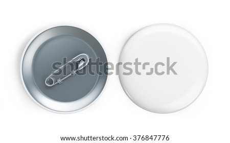 white badge 3d Illustrations on a white background - stock photo