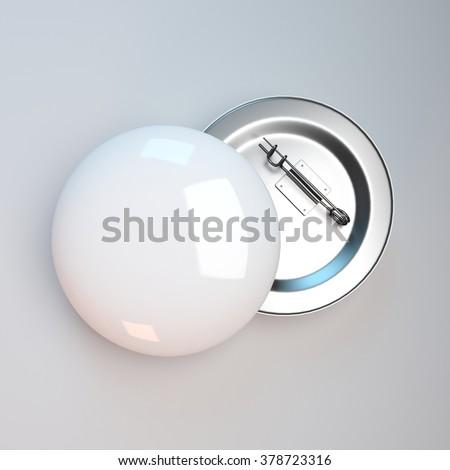 white badge pin brooch mock-up - stock photo