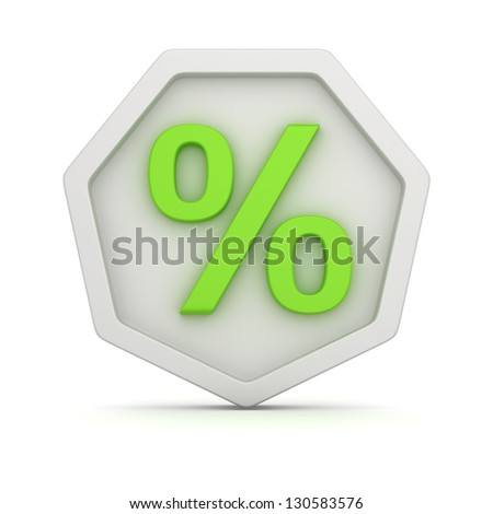 White badge with green percentage symbol