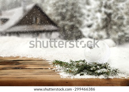 white ball green tree and wooden desk space  - stock photo