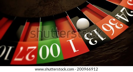 white ball running on roulette wheel - stock photo