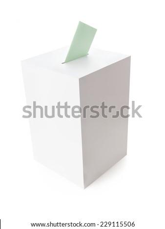 White ballot box with green voting card on white background - stock photo