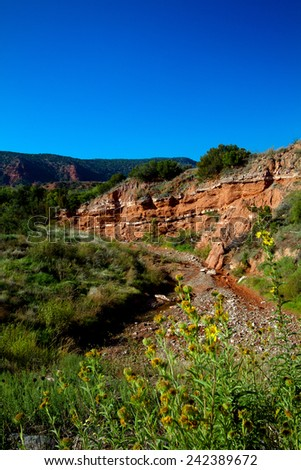 White bands in a geological formation in Caprock Canyons State Park in Texas - stock photo