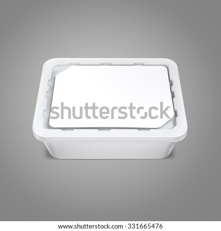 White bank for food oil, mayonnaise, margarine, cheese, ice cream, olives,, pickles, sour cream. Food and drink plastic blank. Template Ready For Your Design. Isolated on gray