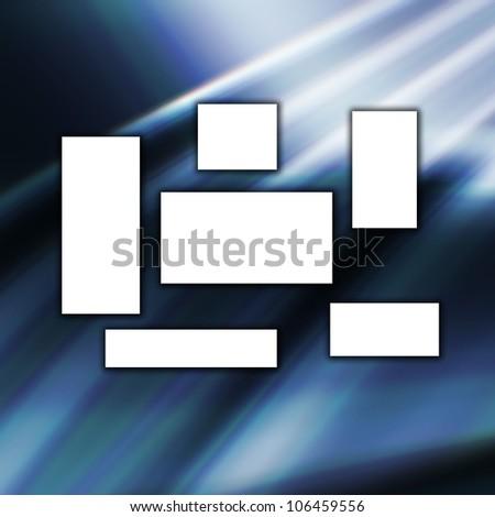 white banner on blue background - stock photo