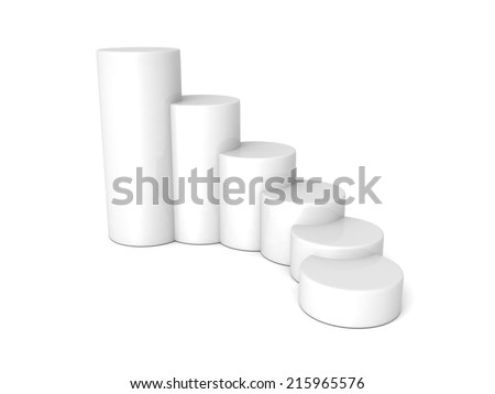 white bar chart graph growing up. 3d render illustration - stock photo