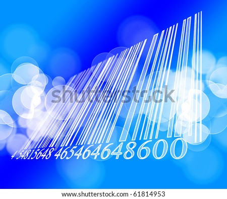 white bar code on a blue background - stock photo