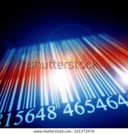 white bar code on a dark blue background - stock photo