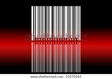White bar code on black background with red reflection - stock photo