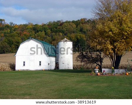 white barn silo fall foliage