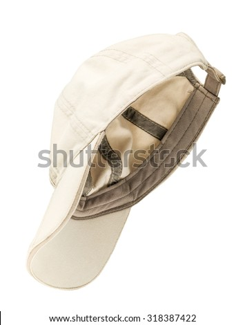 white baseball cap isolated on a white background - stock photo