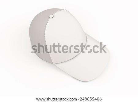 White baseball cap template. Baseball cap isolated on white background. 3d render image. - stock photo