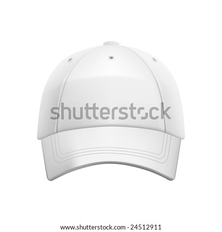 White baseball cap template (isolated on white, clipping path) - stock photo