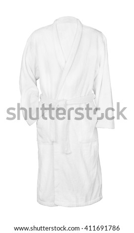 white bathrobe bathrobe. isolated