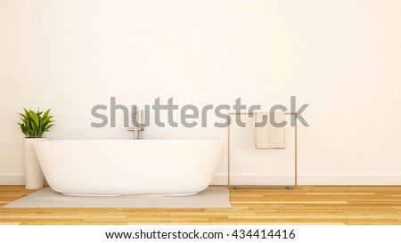 white bathroom minimal design-3D Rendering - stock photo