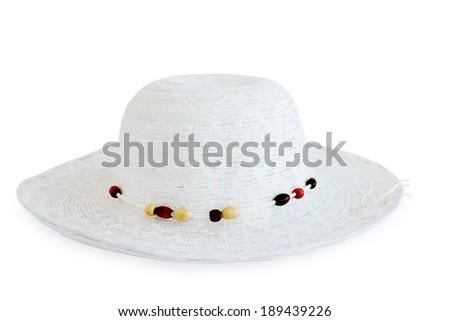 White beach hat isolated on white background - stock photo