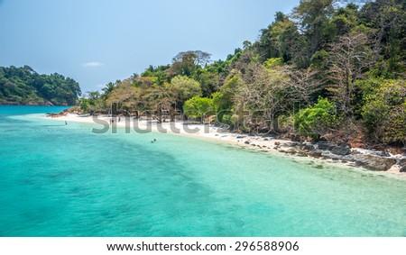 white beach of the Koh Rang Isle of Ko Rang National Park, Koh Chang, Thailand - stock photo
