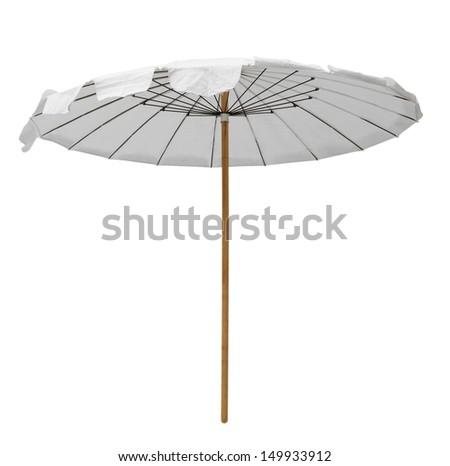 White beach umbrella isolated on white. Clipping path included. - stock photo