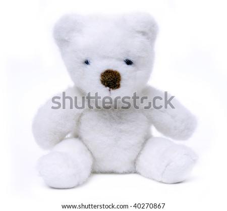 white bear toy  isolated on a white background - stock photo
