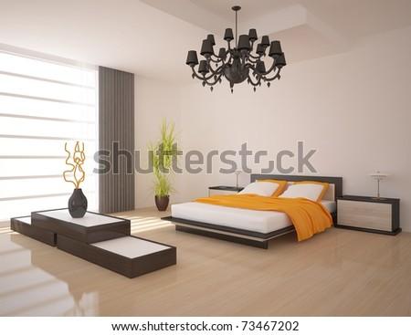 white bedroom - stock photo