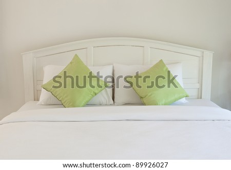 white bedroom and pillow - stock photo