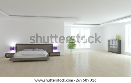 white bedroom design with panoramic windows-3d rendering - stock photo