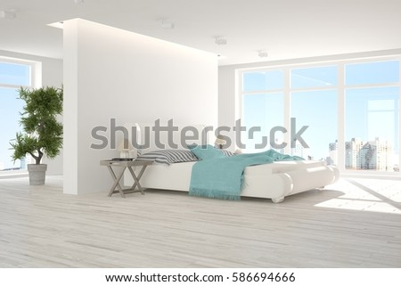 Side View Bedroom Double Bed White Stock Illustration